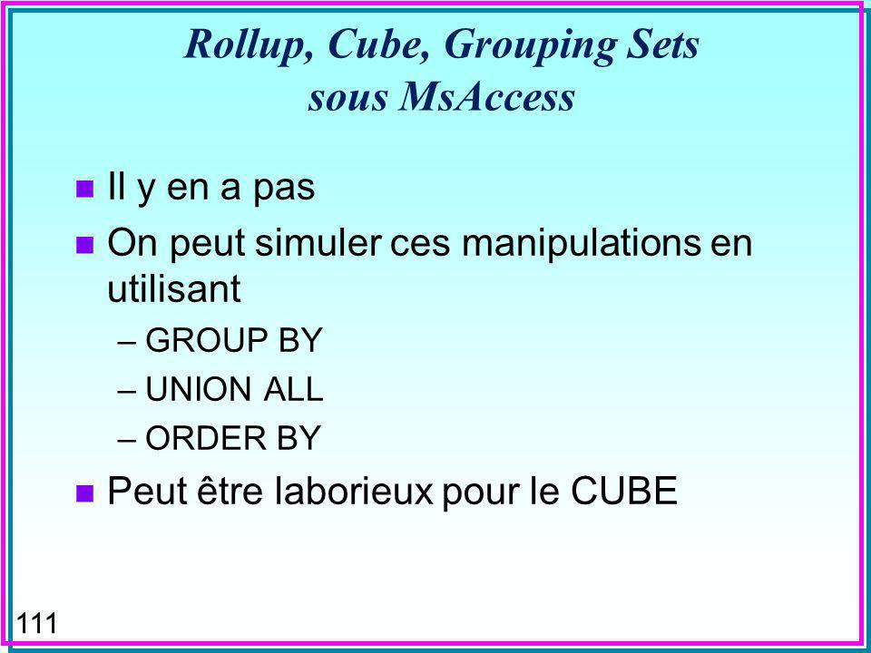 110 GROUPING SETS n On indique explicitement les groupes –entre (..) F le groupe () est constitué de toute la table SELECT p#, sum (qty) as tot-qty from S,SP, P WHERE SP.