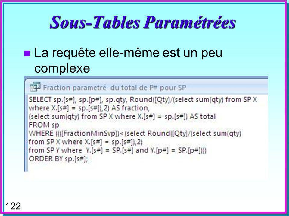 121 Sous-Tables Paramétrées