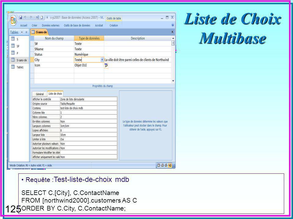 124 Liste de Choix Multibase « Liste de choix » dans la définition dun attribut peut être multibase Un fournisseur dans la base S-P ne pourrait être choisi que dans une ville dun client de Northwind Un code postal dans la base Clients devrait être dans la base nationale de codes postaux ….