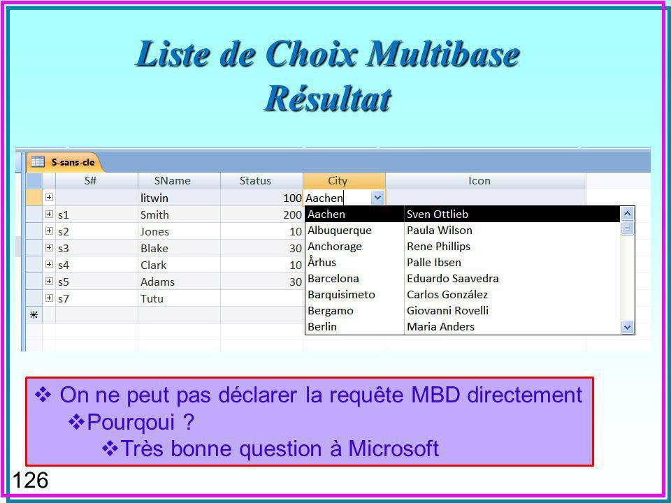 125 Liste de Choix Multibase Requête : Test-liste-de-choix mdb SELECT C.[City], C.ContactName FROM [northwind2000].customers AS C ORDER BY C.City, C.C