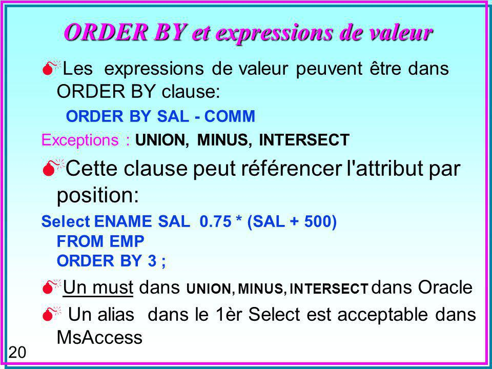 19 UNION et ORDER BY SELECT [s#] FROM S Union SELECT [p#] FROM p Par conséquent, où peut-on placer la (ou les) clauses ORDER BY ? Après le 1 er Select