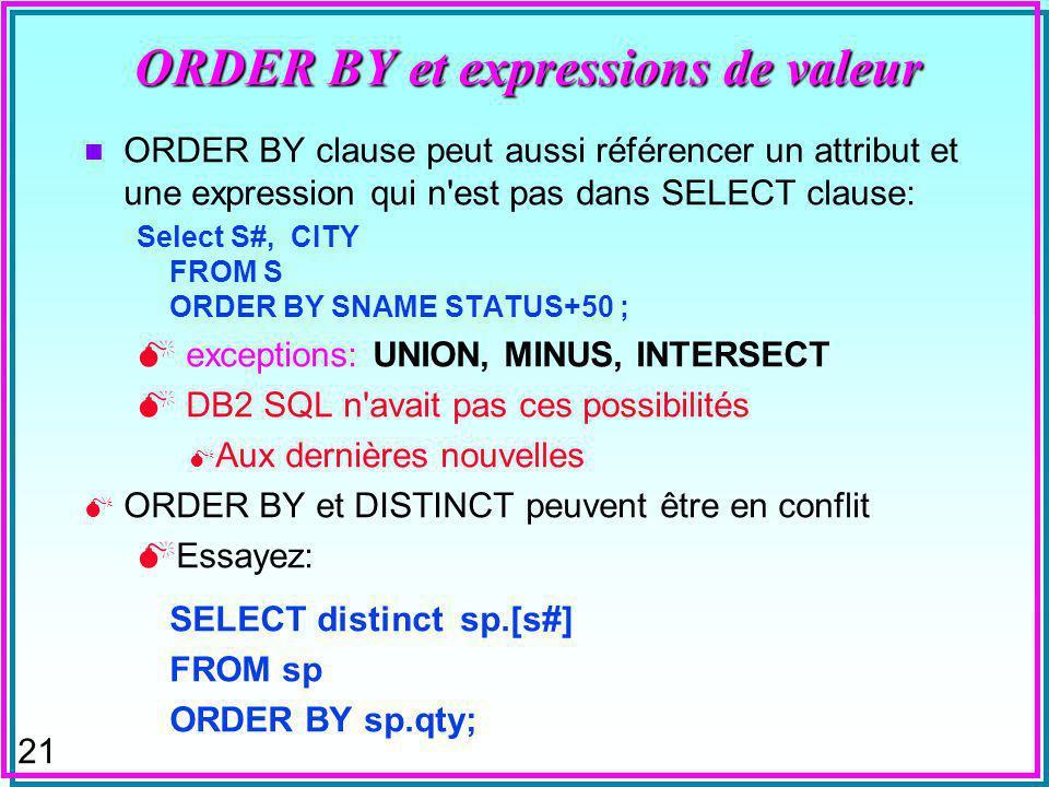 20 ORDER BY et expressions de valeur Les expressions de valeur peuvent être dans ORDER BY clause: ORDER BY SAL - COMM Exceptions : UNION, MINUS, INTERSECT Cette clause peut référencer l attribut par position: Select ENAME SAL 0.75 * (SAL + 500) FROM EMP ORDER BY 3 ; Un must dans UNION, MINUS, INTERSECT dans Oracle Un alias dans le 1èr Select est acceptable dans MsAccess
