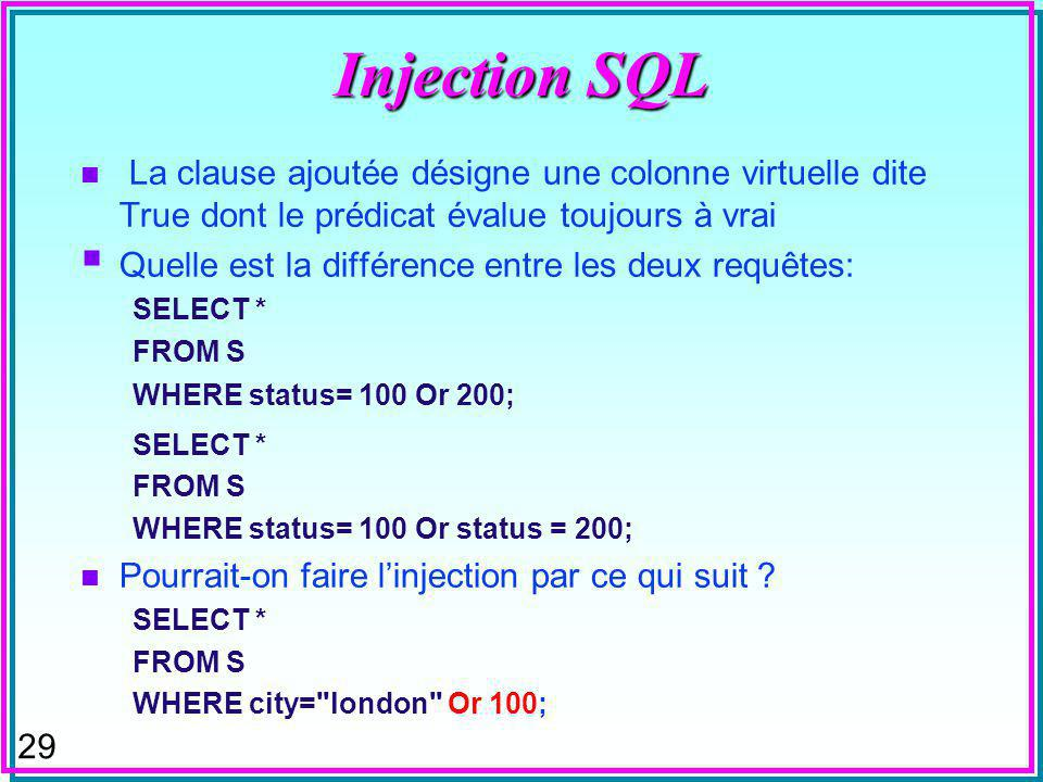 28 Injection SQL n On ajoute en fraude à une requête a priori en restriction une condition qui annule cette restriction n Gros dégâts sur le WEB notamment SELECT * FROM S WHERE city= london Or True; SQL Injection S#SNameStatusCity s1smithParis s2Jones100london s3Blake30Paris s4Clark10london s5Adams30Athens