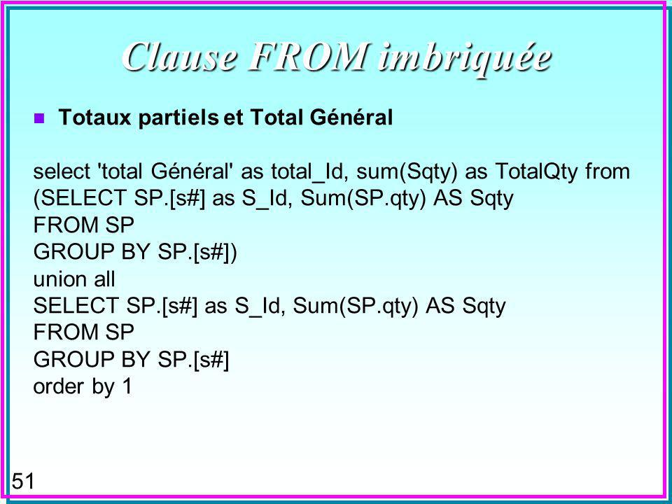 50 Clause FROM imbriquée select avg(moy1) as [moyenne-des-moyennes] FROM (SELECT avg(weight) as moy1 FROM P WHERE City like 'l*' UNION ALL SELECT avg(