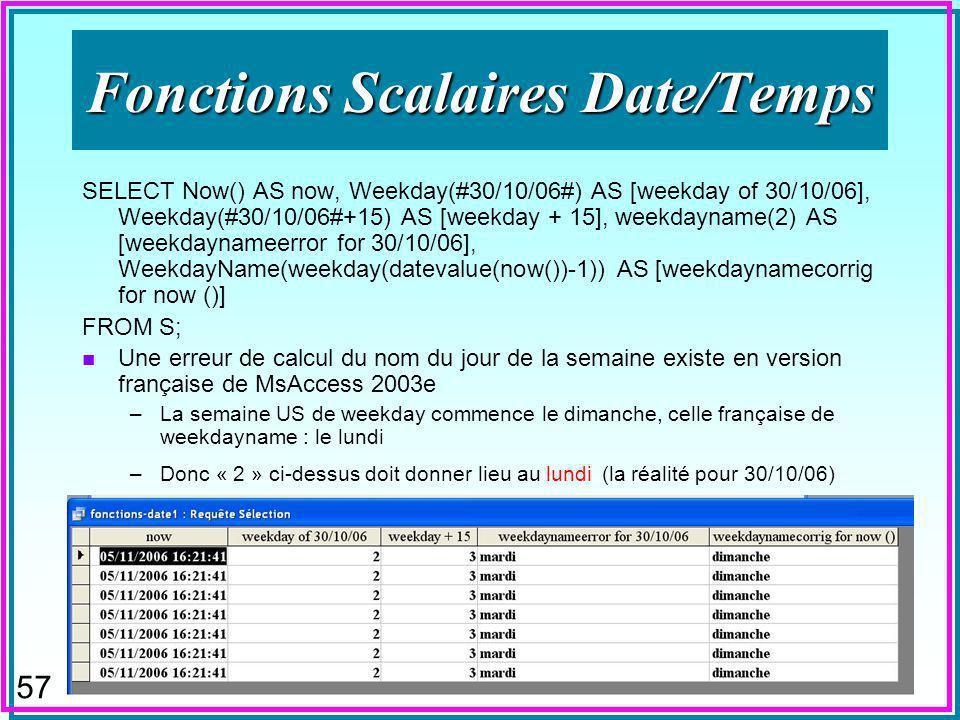 56 Valeurs nulles n Fonctions scalaires –peuvent sappliquer aux nuls –ABS, INT, LCASE...