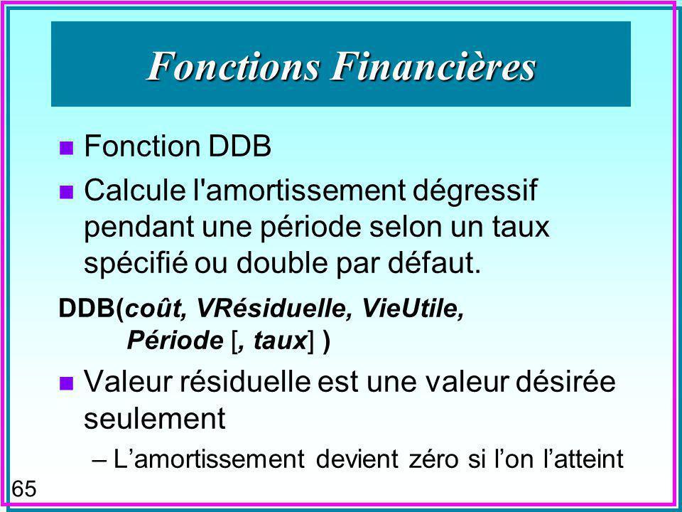 64 Fonctions Financières n Fonction DDB n Calcule l amortissement dégressif pendant une période selon un taux spécifié ou double par défaut.