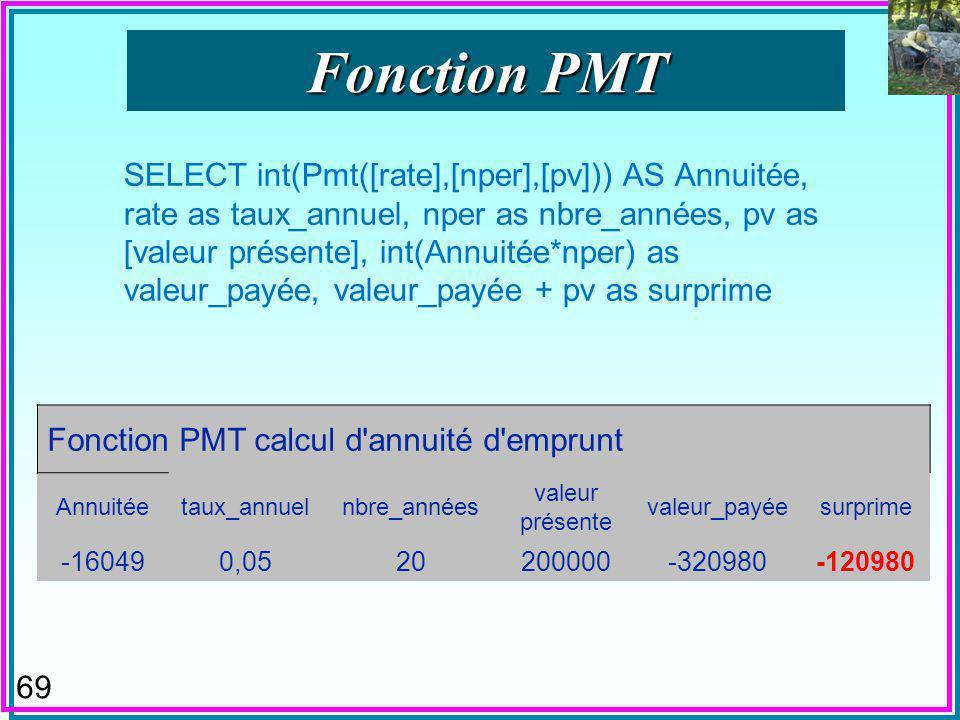 68 n Fonction « Payment » SQL n Fonction « Valeur de Payement « VPM en QBE français –Donc dans le Générateur dExpressions n Calcule les annuités dun emprunt à durée et taux données.
