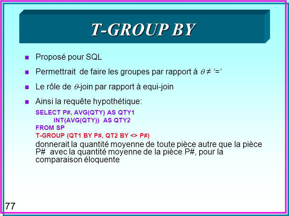 76 GROUP BY avec HAVING n La clause HAVING est également redondante SELECT P# FROM SP GROUP BY P# HAVING COUNT(*) > 1; est équivalent à: SELECT DISTIN