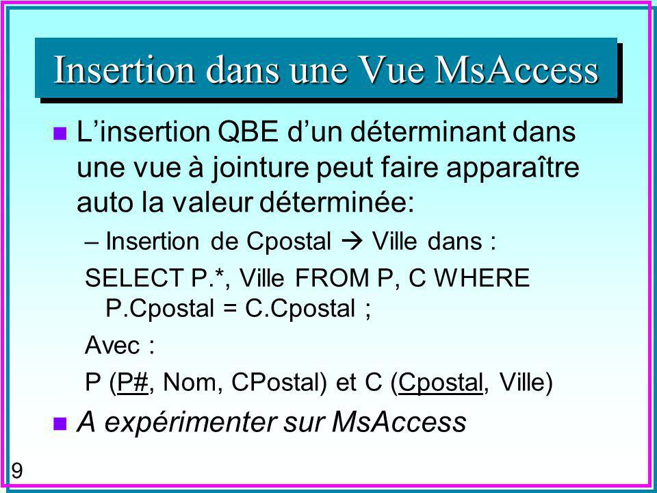 8 n A expérimenter sur la base S-P –Vue SP1 : Select S.[S#], SNAME, STATUS, CITY, [P#], QTY FROM S, SP –Vue SP2 : Select SP.[S#], SNAME, STATUS, CITY, [P#], QTY FROM S, SP Insertion dans une Vue MsAccess