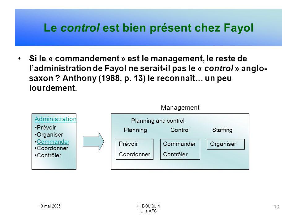 13 mai 2005H. BOUQUIN Lille AFC 10 Le control est bien présent chez Fayol Si le « commandement » est le management, le reste de ladministration de Fay
