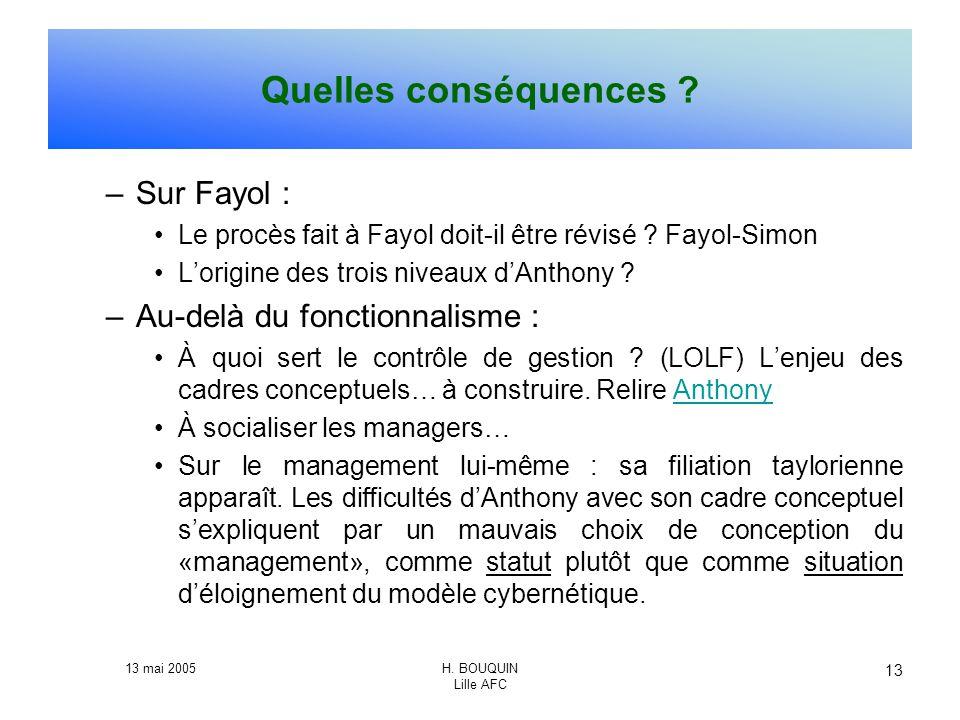 13 mai 2005H. BOUQUIN Lille AFC 13 Quelles conséquences ? –Sur Fayol : Le procès fait à Fayol doit-il être révisé ? Fayol-Simon Lorigine des trois niv