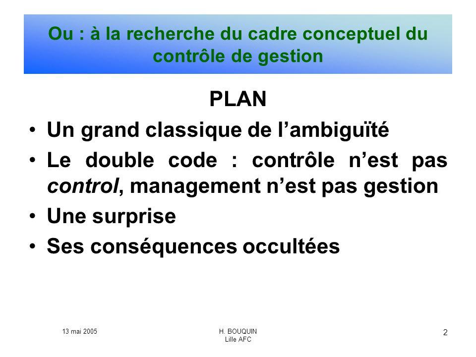 13 mai 2005H. BOUQUIN Lille AFC 2 Ou : à la recherche du cadre conceptuel du contrôle de gestion PLAN Un grand classique de lambiguïté Le double code