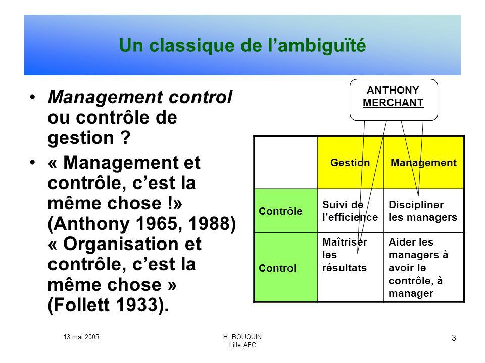 13 mai 2005H. BOUQUIN Lille AFC 3 Un classique de lambiguïté Management control ou contrôle de gestion ? « Management et contrôle, cest la même chose