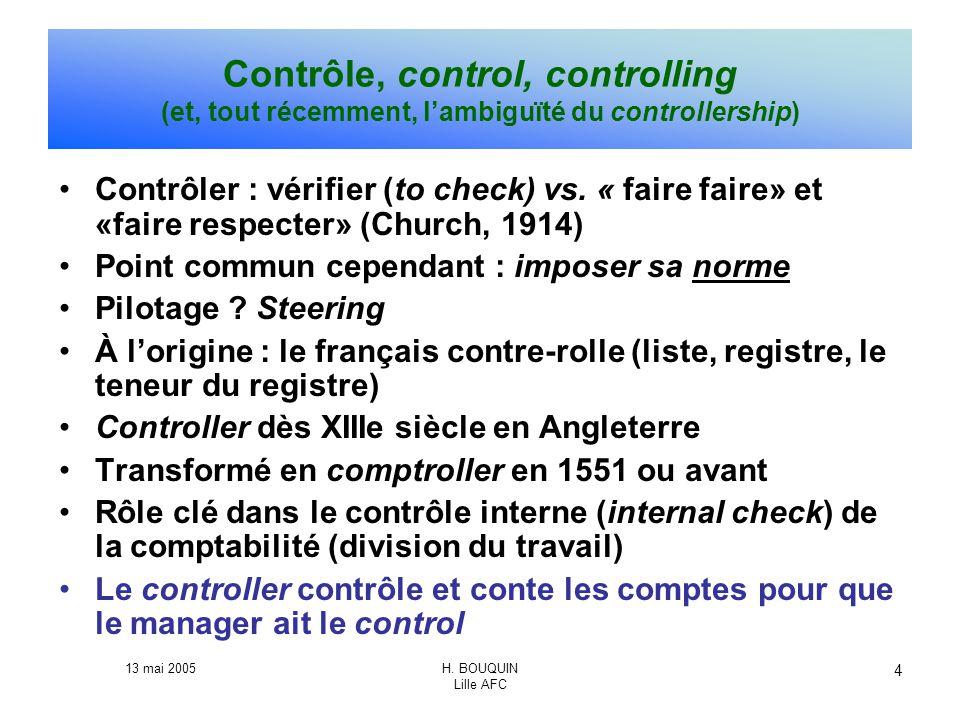 13 mai 2005H. BOUQUIN Lille AFC 4 Contrôle, control, controlling (et, tout récemment, lambiguïté du controllership) Contrôler : vérifier (to check) vs