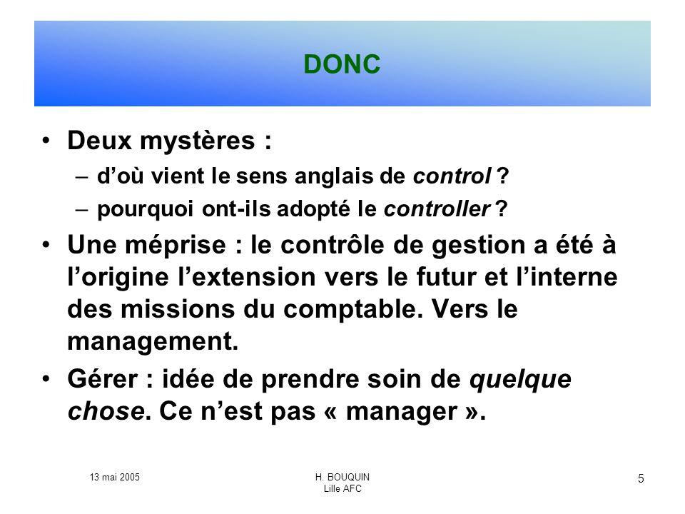 13 mai 2005H. BOUQUIN Lille AFC 5 DONC Deux mystères : –doù vient le sens anglais de control ? –pourquoi ont-ils adopté le controller ? Une méprise :