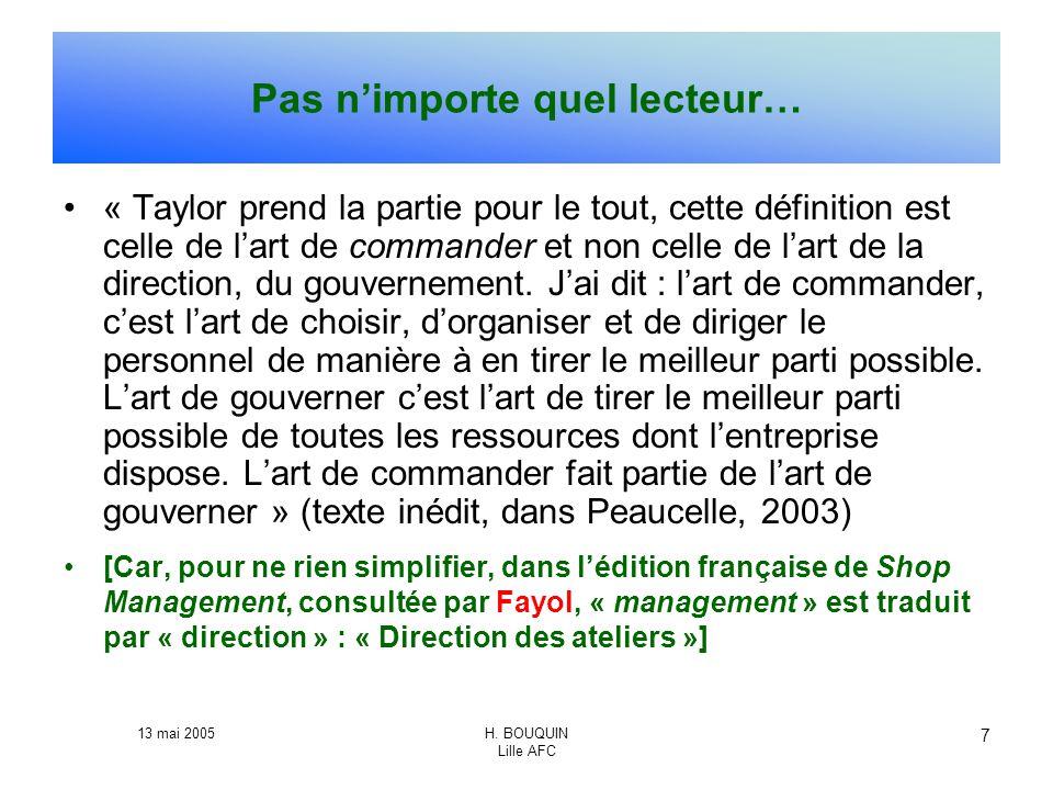 13 mai 2005H. BOUQUIN Lille AFC 7 Pas nimporte quel lecteur… « Taylor prend la partie pour le tout, cette définition est celle de lart de commander et