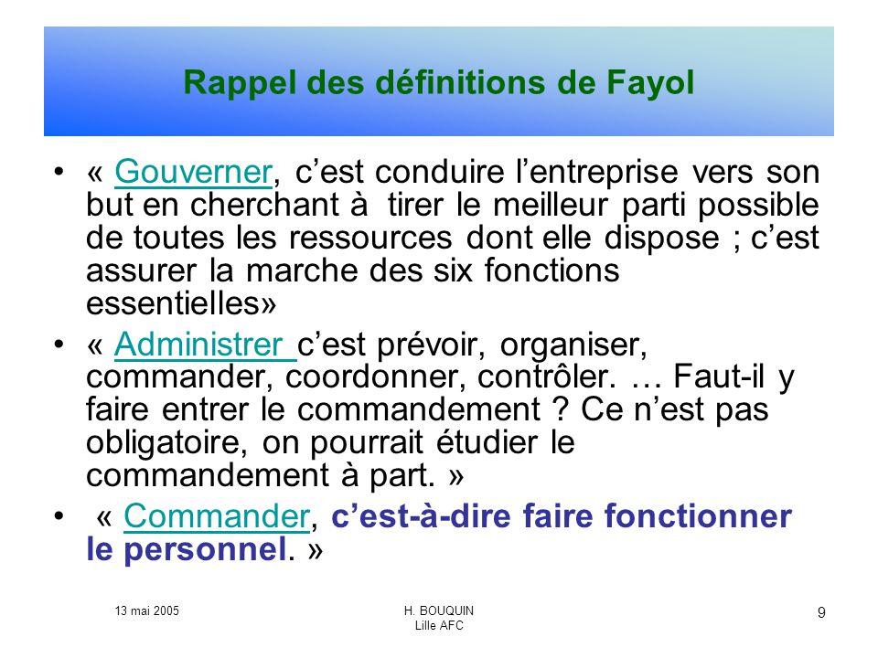 13 mai 2005H. BOUQUIN Lille AFC 9 Rappel des définitions de Fayol « Gouverner, cest conduire lentreprise vers son but en cherchant à tirer le meilleur