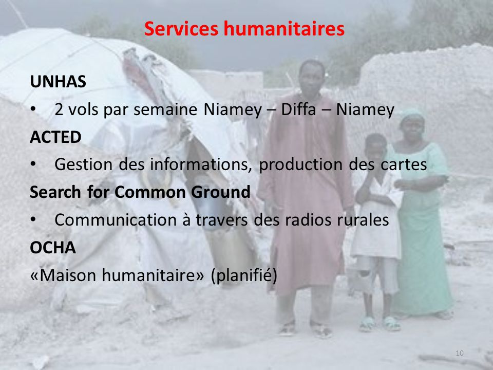 Services humanitaires UNHAS 2 vols par semaine Niamey – Diffa – Niamey ACTED Gestion des informations, production des cartes Search for Common Ground