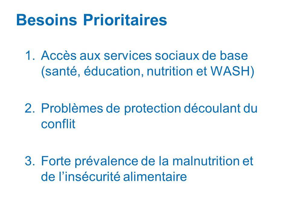 1.Accès aux services sociaux de base (santé, éducation, nutrition et WASH) 2.Problèmes de protection découlant du conflit 3.Forte prévalence de la mal