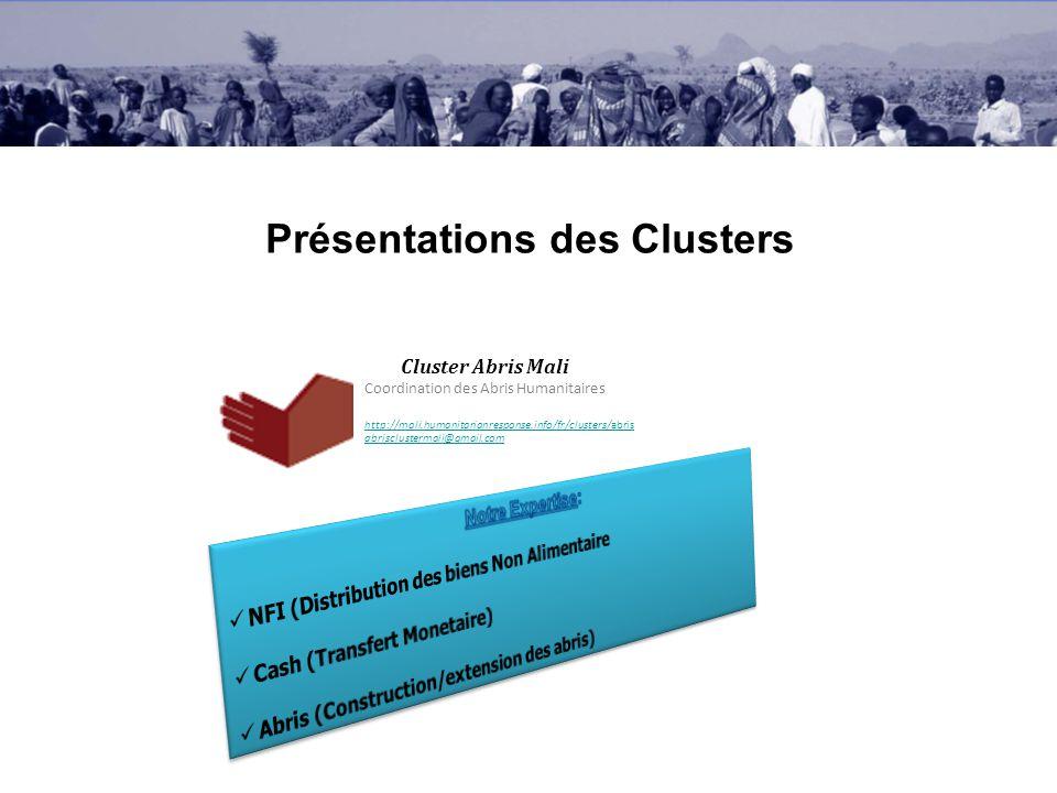 Présentations des Clusters Cluster Abris Mali Coordination des Abris Humanitaires http://mali.humanitarianresponse.info/fr/clusters/abris abrisclustermali@gmail.com
