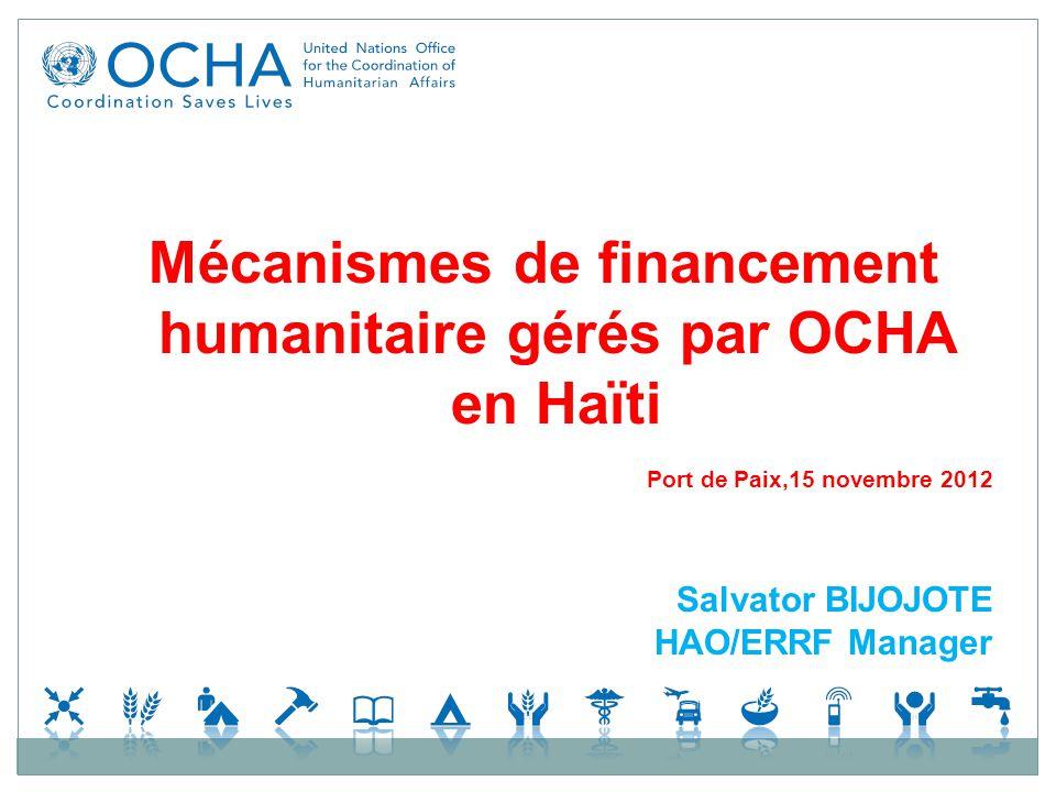 Mécanismes de financement humanitaire gérés par OCHA en Haïti Port de Paix,15 novembre 2012 Salvator BIJOJOTE HAO/ERRF Manager