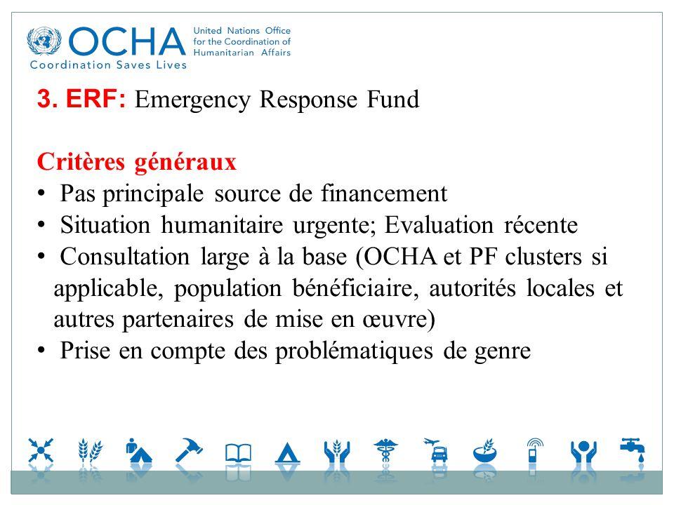 3. ERF: Emergency Response Fund Critères généraux Pas principale source de financement Situation humanitaire urgente; Evaluation récente Consultation