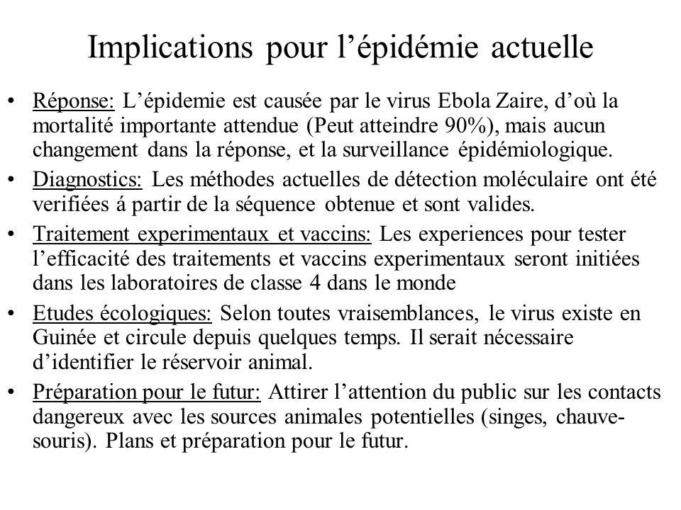 Implications pour lépidémie actuelle Réponse: Lépidemie est causée par le virus Ebola Zaire, doù la mortalité importante attendue (Peut atteindre 90%)