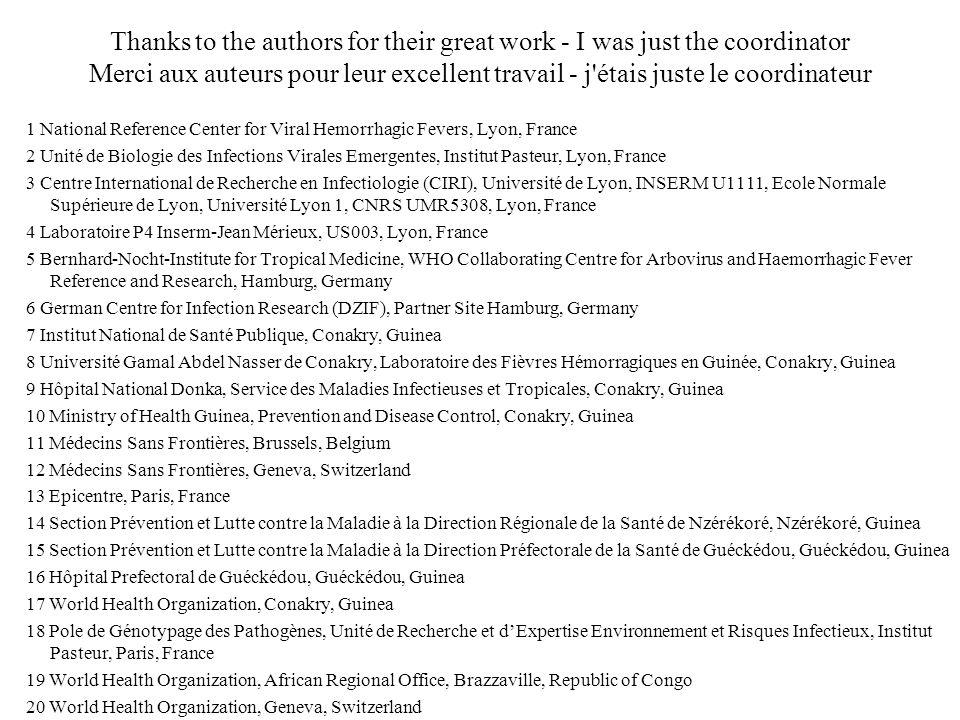 Thanks to the authors for their great work - I was just the coordinator Merci aux auteurs pour leur excellent travail - j'étais juste le coordinateur