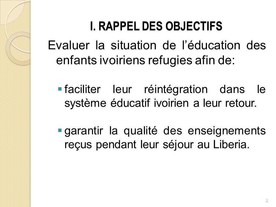 I. RAPPEL DES OBJECTIFS Evaluer la situation de léducation des enfants ivoiriens refugies afin de: faciliter leur réintégration dans le système éducat