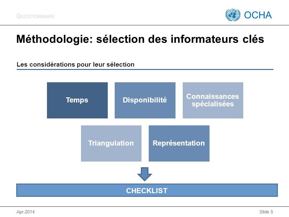 OCHA KoBoCAT Méthodologie: sélection des informateurs clés Apr-2014 Slide 5 Les considérations pour leur sélection Q UESTIONNAIRE TempsDisponibilité Connaissances spécialisées TriangulationReprésentation CHECKLIST