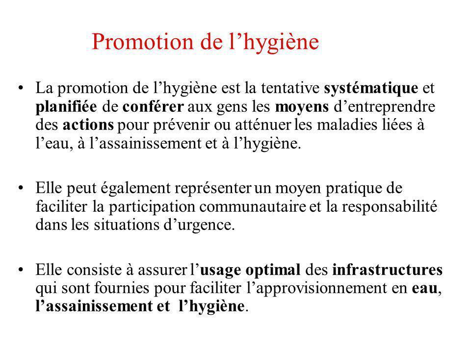 Promotion de lhygiène La promotion de lhygiène est la tentative systématique et planifiée de conférer aux gens les moyens dentreprendre des actions po