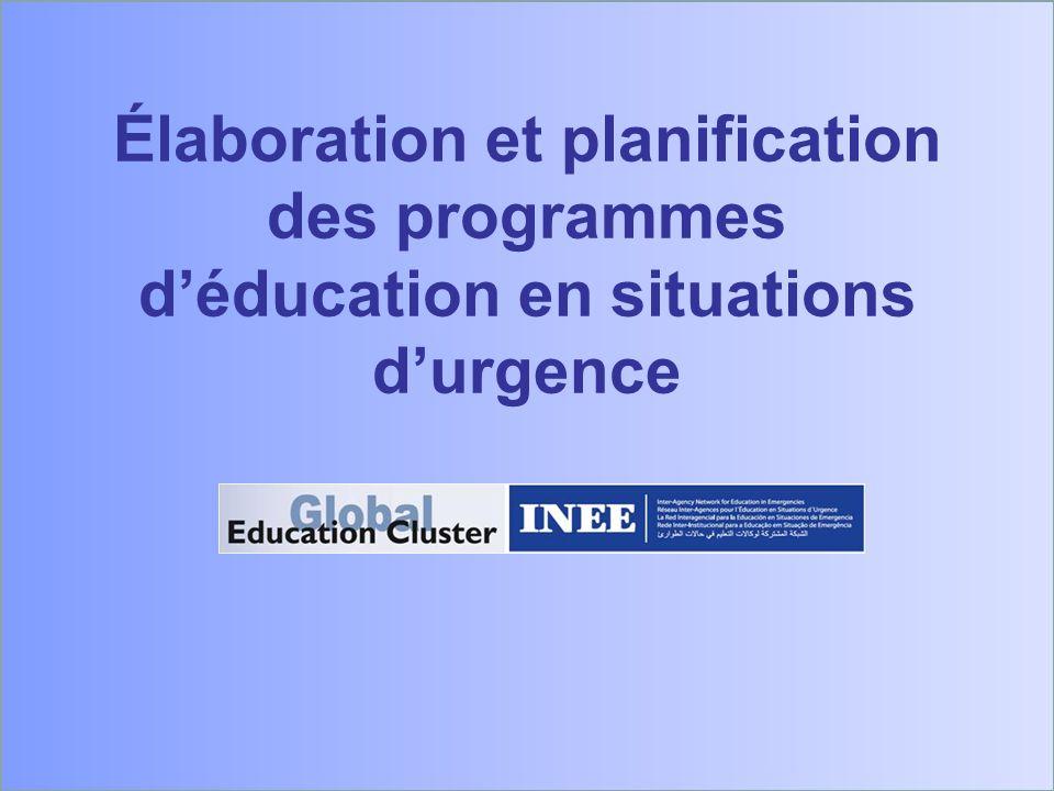 Élaboration et planification des programmes déducation en situations durgence