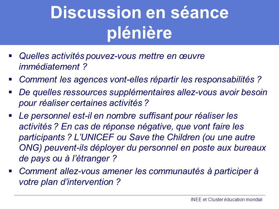 Discussion en séance plénière Quelles activités pouvez-vous mettre en œuvre immédiatement .
