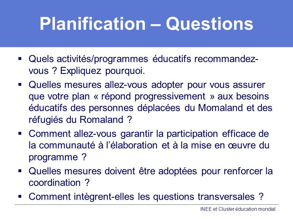 Planification – Questions Quels activités/programmes éducatifs recommandez- vous .