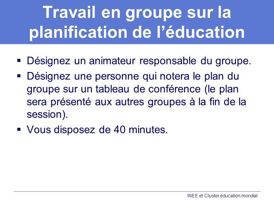Travail en groupe sur la planification de léducation Désignez un animateur responsable du groupe.