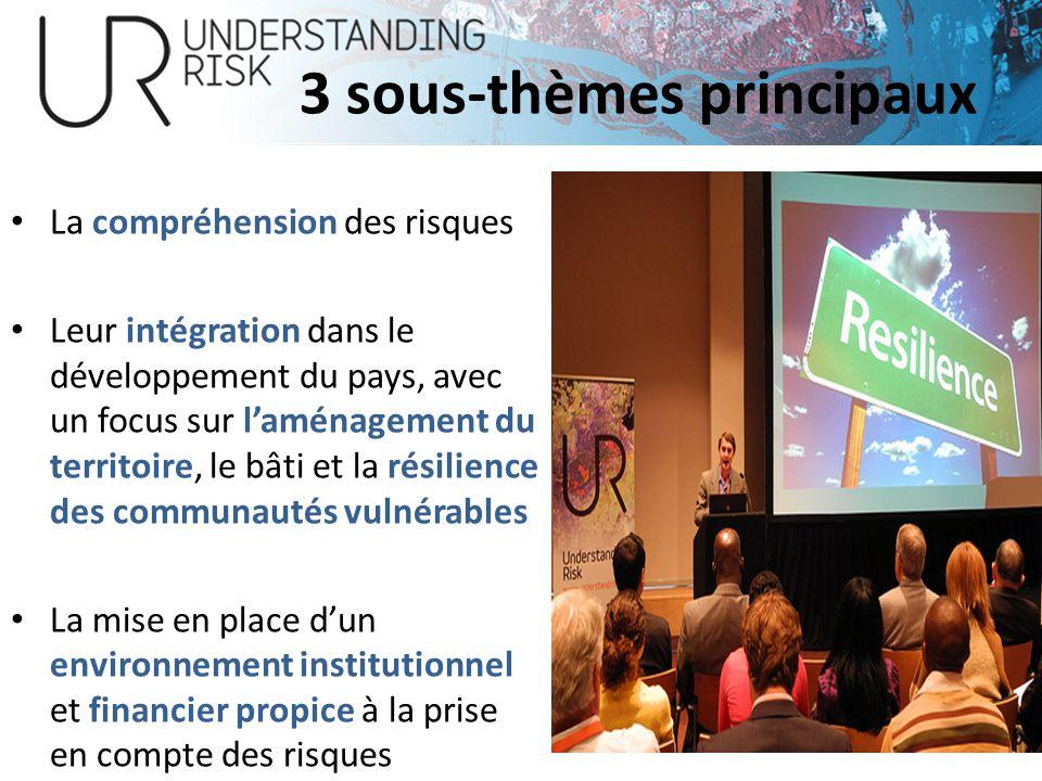 12 3 sous-thèmes principaux La compréhension des risques Leur intégration dans le développement du pays, avec un focus sur laménagement du territoire,