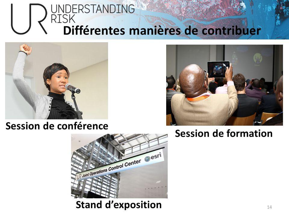 14 Différentes manières de contribuer Session de conférence Session de formation Stand dexposition