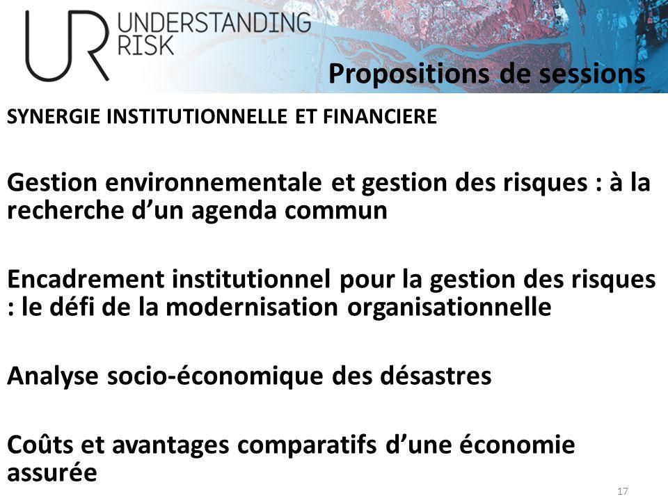 SYNERGIE INSTITUTIONNELLE ET FINANCIERE Gestion environnementale et gestion des risques : à la recherche dun agenda commun Encadrement institutionnel