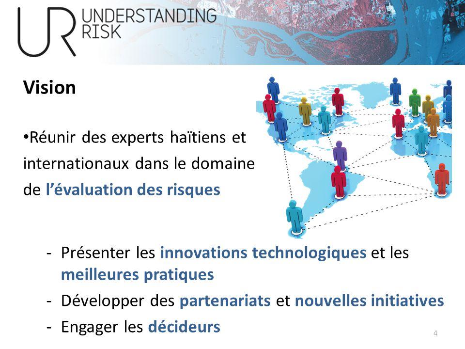 Réunir des experts haïtiens et internationaux dans le domaine de lévaluation des risques -Présenter les innovations technologiques et les meilleures p