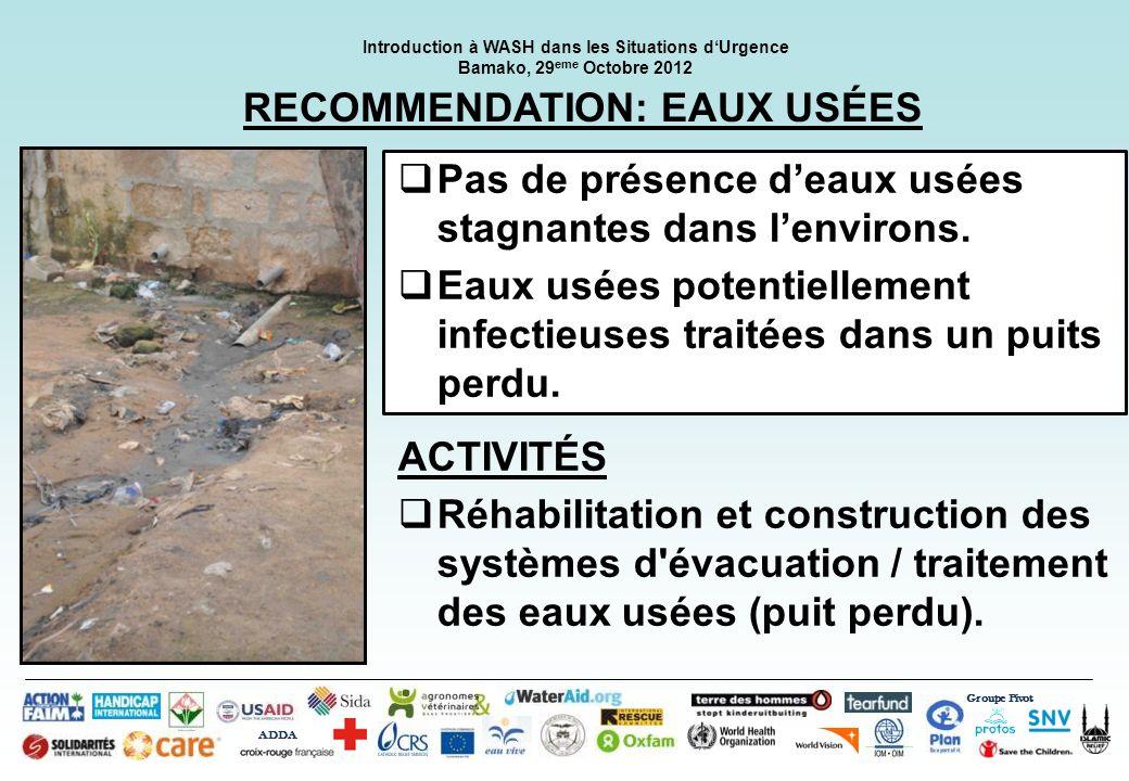Groupe Pivot ADDA Introduction à WASH dans les Situations dUrgence Bamako, 29 eme Octobre 2012 RECOMMENDATION: LA LUTTE ANTI VECTORIELLE Absence de vecteurs de maladies Lits équipés de moustiquaires imprégnées.