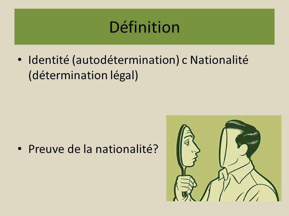 Définition Identité (autodétermination) c Nationalité (détermination légal) Preuve de la nationalité?