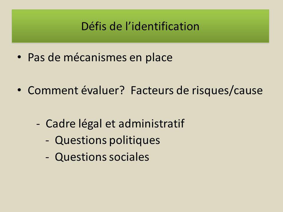 Pas de mécanismes en place Comment évaluer? Facteurs de risques/cause - Cadre légal et administratif - Questions politiques - Questions sociales Défis