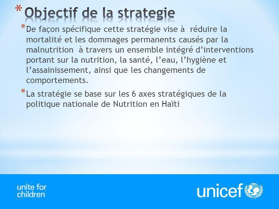 * De façon spécifique cette stratégie vise à réduire la mortalité et les dommages permanents causés par la malnutrition à travers un ensemble intégré
