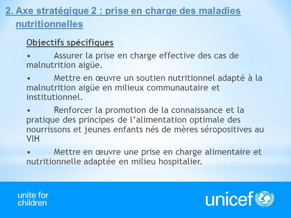 2.Axe stratégique 2 : prise en charge des maladies nutritionnelles Objectifs spécifiques Assurer la prise en charge effective des cas de malnutrition