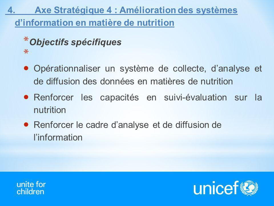 4. Axe Stratégique 4 : Amélioration des systèmes dinformation en matière de nutrition * Objectifs spécifiques * Opérationnaliser un système de collect