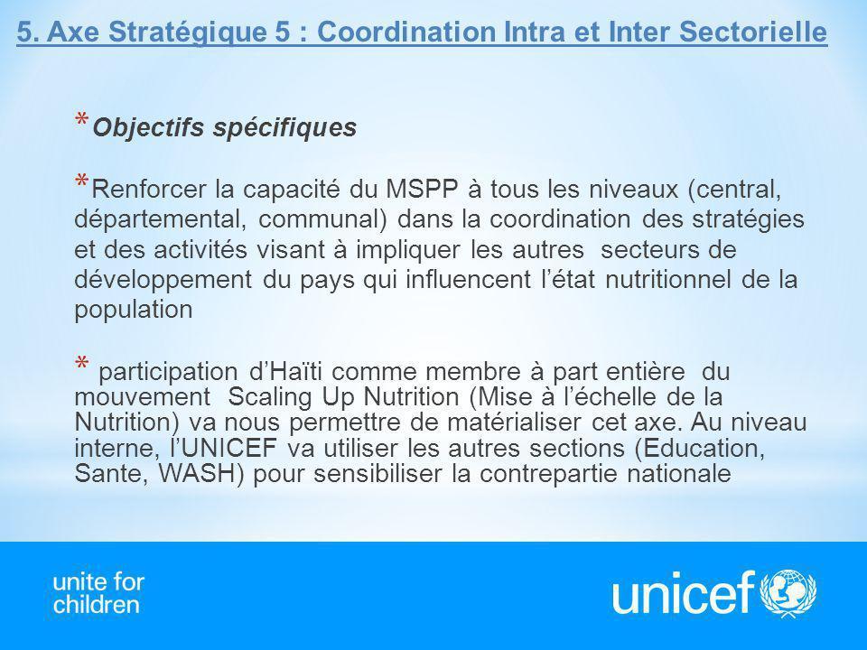 5.Axe Stratégique 5 : Coordination Intra et Inter Sectorielle * Objectifs spécifiques * Renforcer la capacité du MSPP à tous les niveaux (central, dép