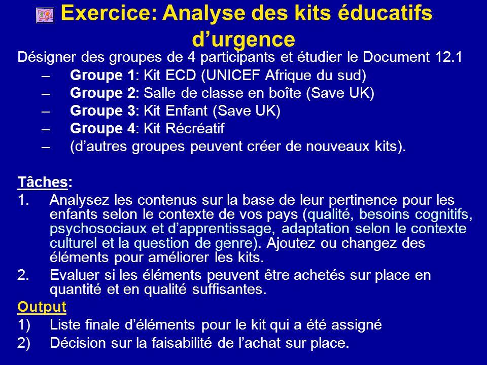 Exercice: Analyse des kits éducatifs durgence Désigner des groupes de 4 participants et étudier le Document 12.1 –Groupe 1: Kit ECD (UNICEF Afrique du