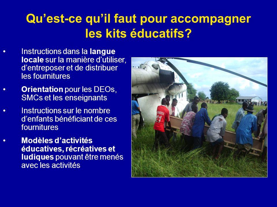 Quest-ce quil faut pour accompagner les kits éducatifs? Instructions dans la langue locale sur la manière dutiliser, dentreposer et de distribuer les