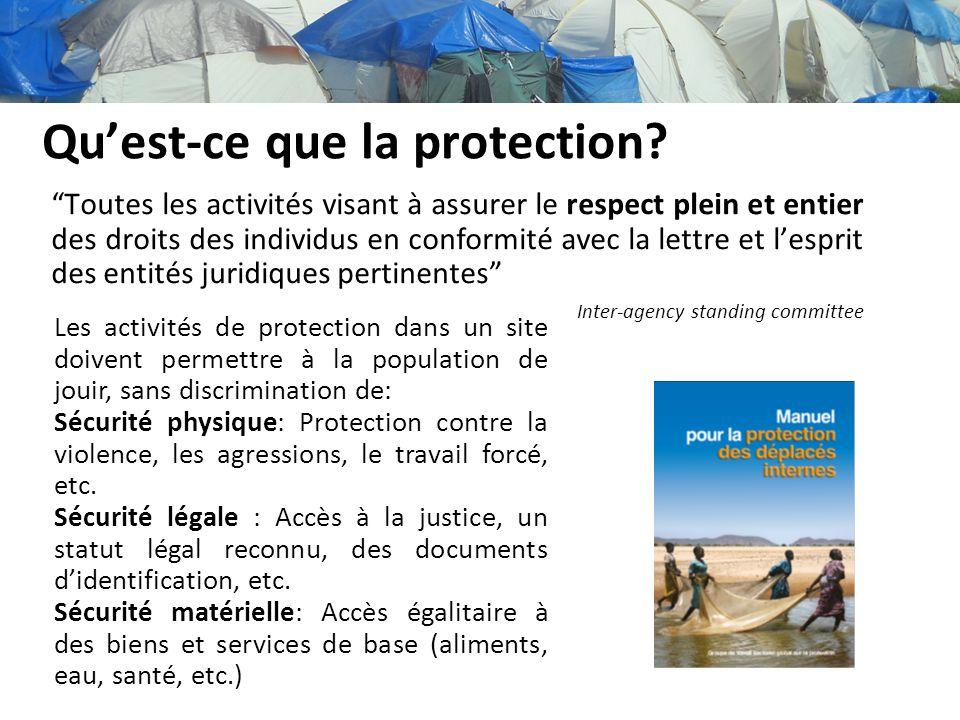 Quest-ce que la protection? Toutes les activités visant à assurer le respect plein et entier des droits des individus en conformité avec la lettre et