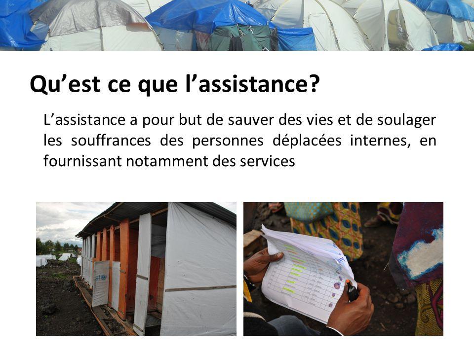 Quest ce que lassistance? Lassistance a pour but de sauver des vies et de soulager les souffrances des personnes déplacées internes, en fournissant no